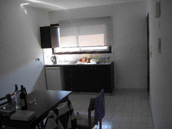 Petrou Bros Hotel Apartments: Part of kitchen area