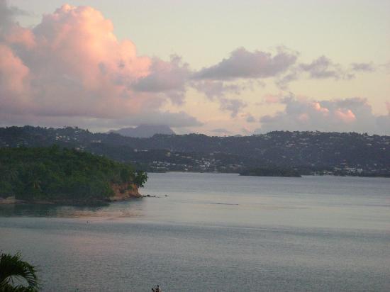 Windjammer Landing Villa Beach Resort: View from our balcony towards Castries