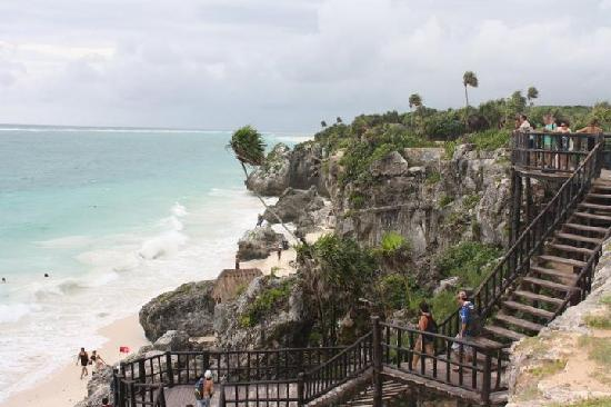 Charlie Drew Cancun Tours and Activities: View of the sea from Tulum structure