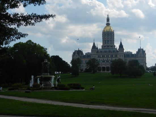 Bushnell Park: a view of the back side of the State Capitol