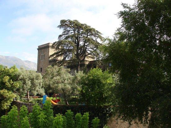 Hotel Don Juan de Austria: Vistas al Parador, su jardín y su piscina