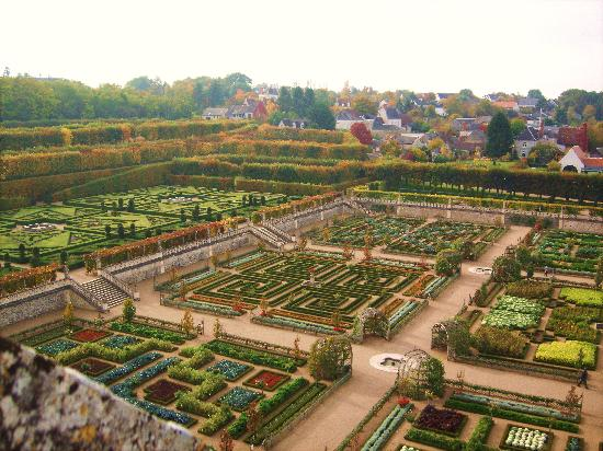 Chateau de Villandry, gardens viewed from roof of the medieval tower