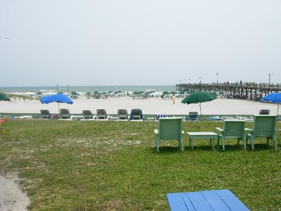 Oceanana Family Motel: View of the lawn, sand and water
