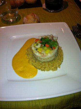 Nature Gourmande : plat roulé de merlan, quinoa et velouté de poivron
