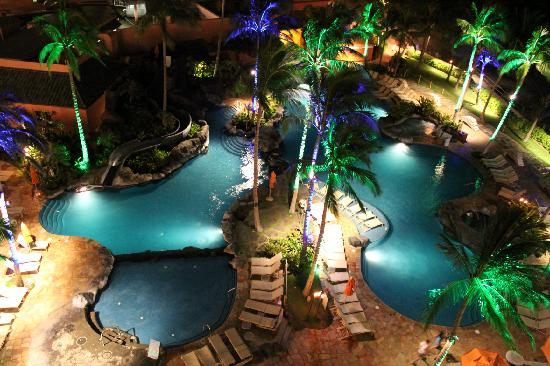 Night View Of The Pool Check Out The Slide Picture Of