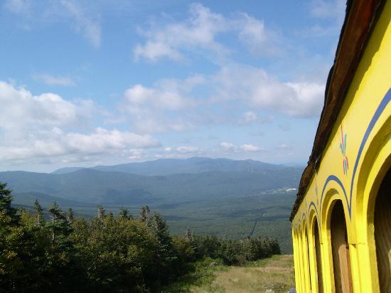 The Mount Washington Cog Railway: cog train moving down the cog