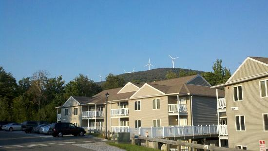 Vacation Village in the Berkshires: Here's a pic of our building, with the windmills in the background