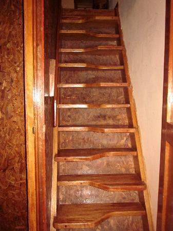 Amaru Hostal: the stairs that lead up to the sleeping area