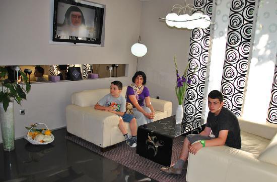 Hotel Jarun: My family in the lobby