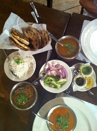 Monsoon India: this is what we ordered - naan malai kofta baigan bharta and other stuff - loved it