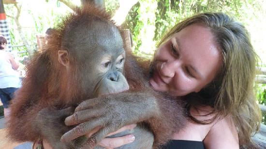 Bali Safari & Marine Park: My wife and the orangutan