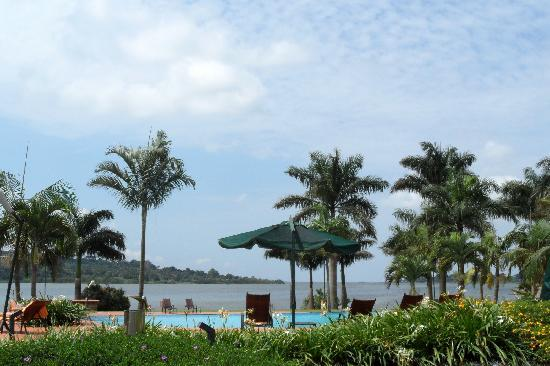 Munyonyo Commonwealth Resort: New pool area overlooking Lake Victoria