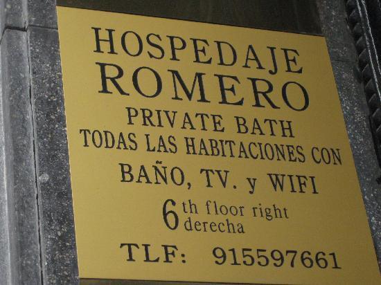Hospedaje Romero: Signboard