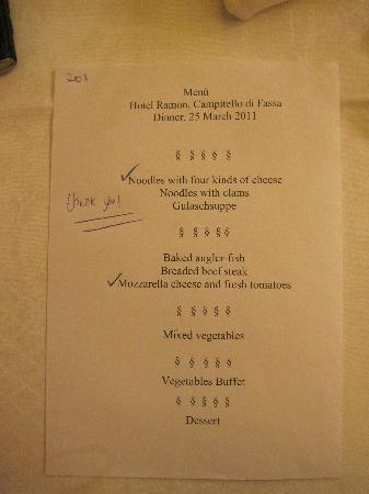 Hotel Ramon: dinner menu