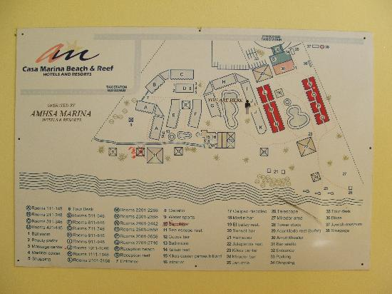 Casa Marina Beach & Reef: map of resot layout