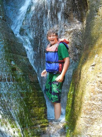 Letchworth State Park: My son in the waterfall