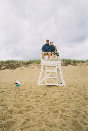 """My daughter and her boyfriend playing """"Lifeguard"""" at Coast Guard Beach."""