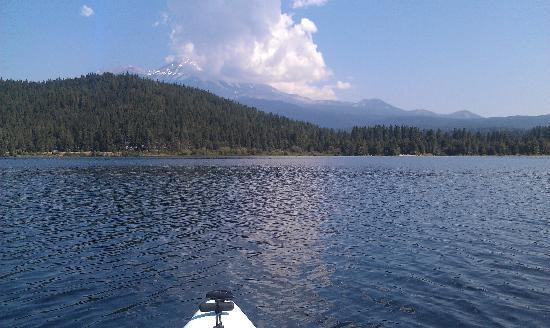 Lake Siskiyou Camp - Resort: Shasta from kayak on Lake Siskiyou