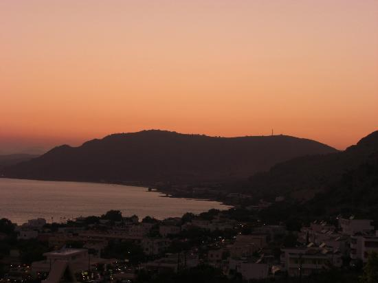 Pefkos Beach Hotel: Sunset from the highest point of the hotel