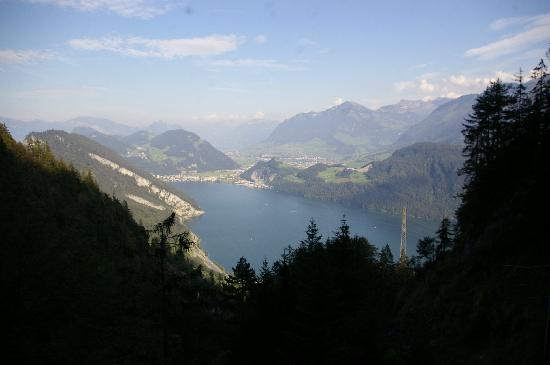 Hotel Pilatus-Kulm: On the way up.... one of many spectacullar views from the steep railway...