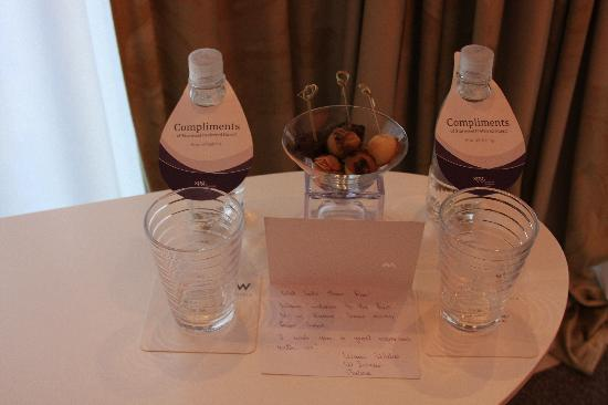 W St. Petersburg: Starwood Preferred Elite Welcome Amenity - Cake bites and water