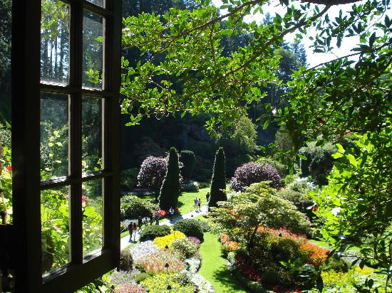 The Butchart Gardens: A window view to the sunken garden