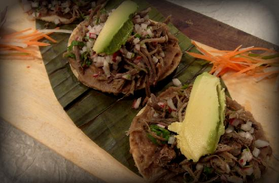 Xulam The Mayan Fisher: Deer crispy tostadas, fried hand made tortilla topped with shredded Deer meat