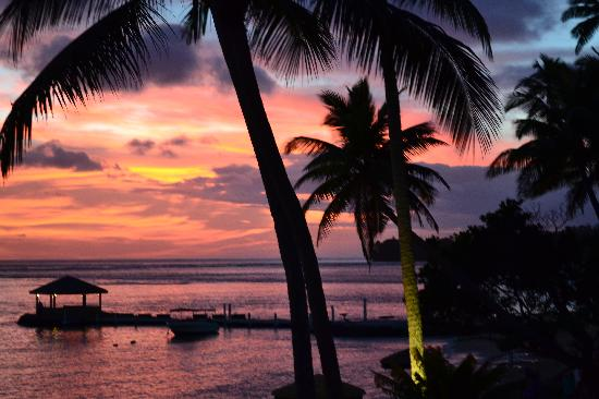 The Warwick Fiji: Sun set from the Lagoon Bar