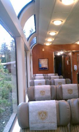 The Rocky Mountaineer: inside gold dome car