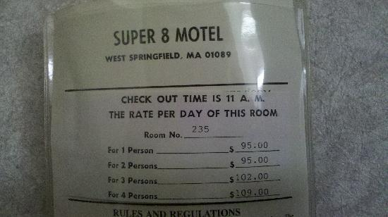 Super 8 West Springfield/Route 5: RATES