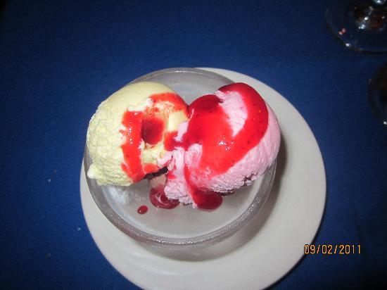 "Royal Solaris Los Cabos: ""Napolitana"" Cassata Neapolitan ice cream dessert with red fruits."