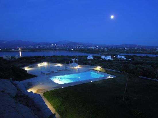 Naxian Collection: The pool and Naxos by night