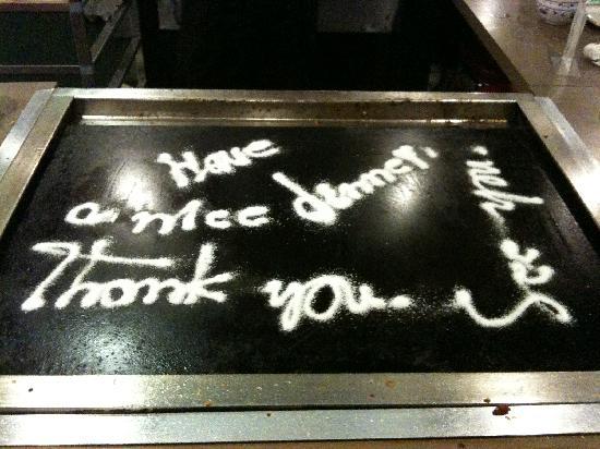 I Chi Ban Teppan-Yaki Japanese Bbq: Thank you message from Chef Ichiban