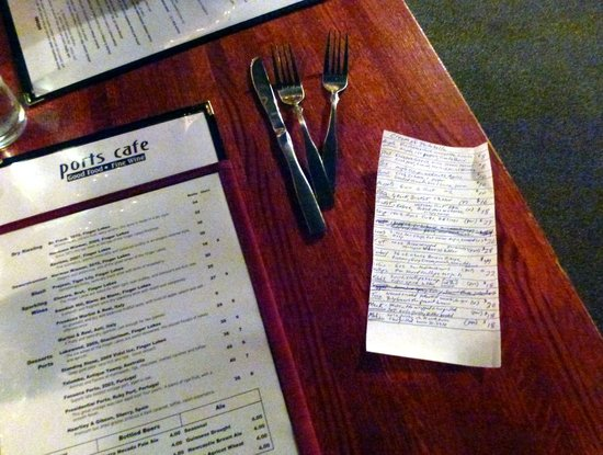 Ports Cafe: The special list is almost longer than the regular menu.