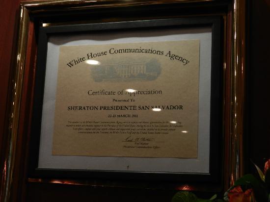 Sheraton Presidente San Salvador: Accolades & Acknowledgments