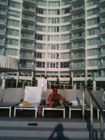 Mondrian South Beach Hotel: Sitting at the pool facing the bay.