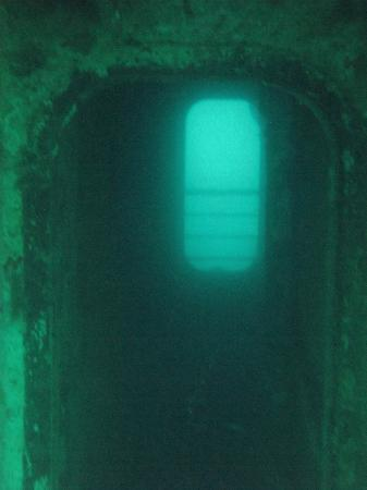 Vandenberg Wreck: One of many swim throughs from one side to the other