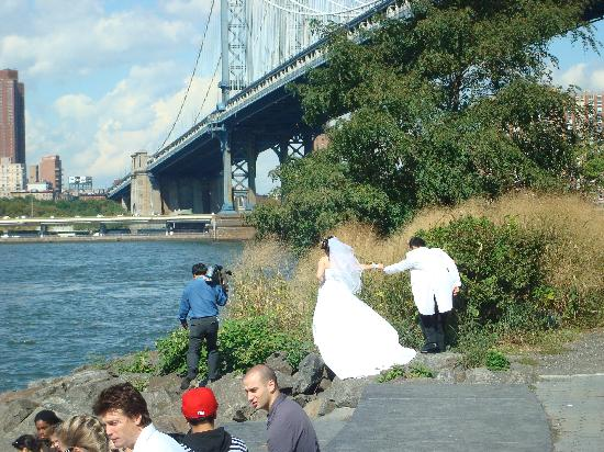 Inside Out Tours: Brooklyn Bridge park; wedding pictures being taken during our tour!