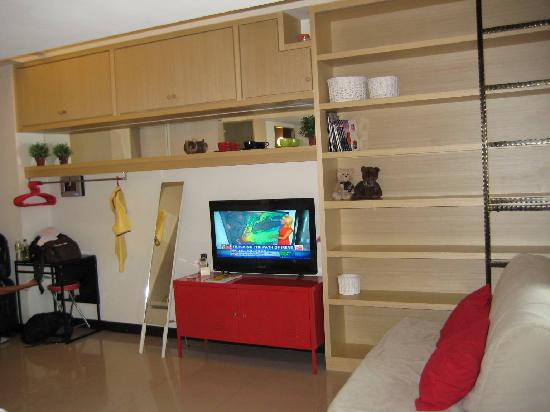Pig' Home ('minsu'): There are shelves beside the flat screen TV where you can put your stuff