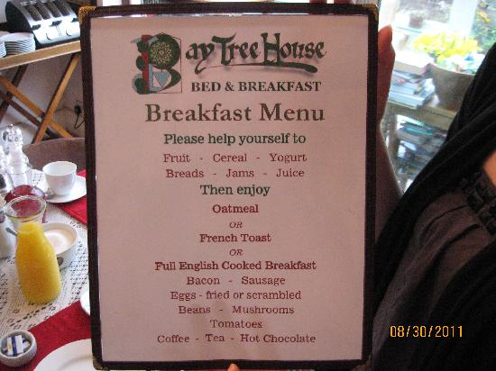 Bay Tree House Bed & Breakfast: Cooked Choices for Breakfast Menu