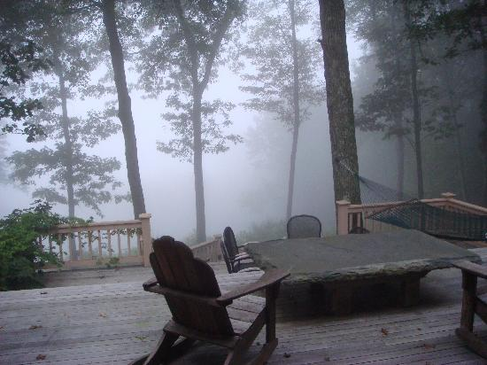 Santosha on the Ridge Bed and Breakfast Sanctuary: Front Porch on a misty, slightly chilly September early morning