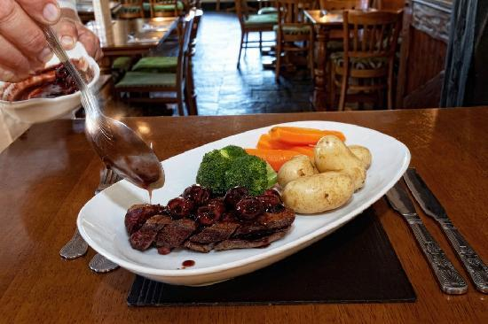 The Warwickshire Lad: duck breast with a dark rum and blackcherry sauce
