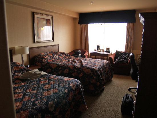 Sandman Hotel Calgary Airport: 2 very comfortable beds and plenty of space to move around in!