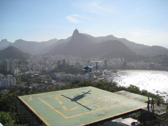 Pão de Açúcar: The helipad and Botafogo in the background