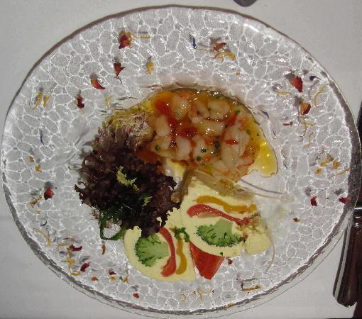 Hotel La Cruna : Terrine of curried vegetables with prawns in sweet chilli marmalade