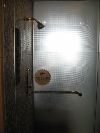 Poem City Hotel: shower stall that flooded