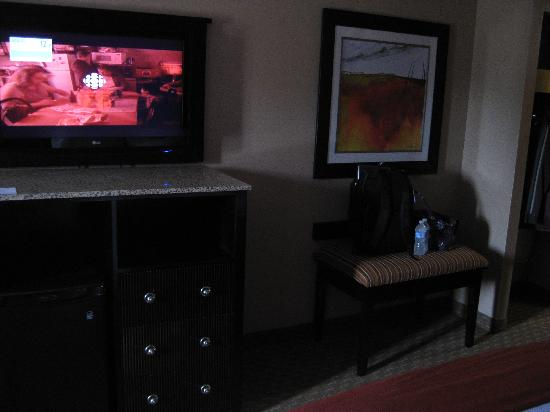 Holiday Inn Express Hotel & Suites Woodstock: nice tv/fridge,drawer, granite counter
