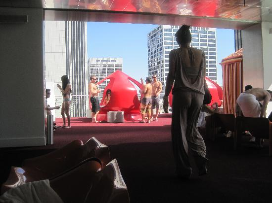 The Standard Downtown LA: rooftop bar crazy pods with waterbeds in them!