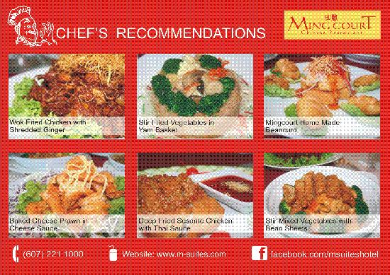 Ming Court Chinese Restaurant: Chef recommendations