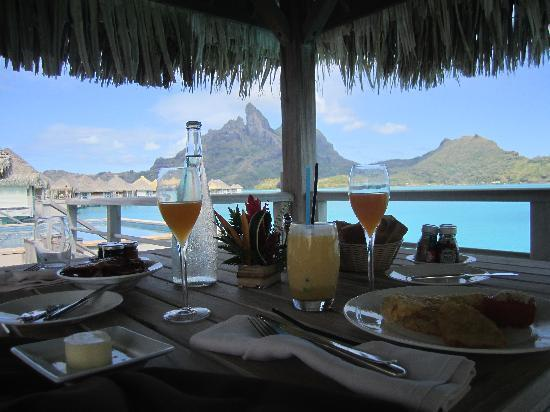 The St. Regis Bora Bora Resort: View from our first breakfast on our deck over the water.